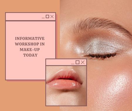 Plantilla de diseño de Makeup Workshop Announcement with Glowing Female Skin Facebook