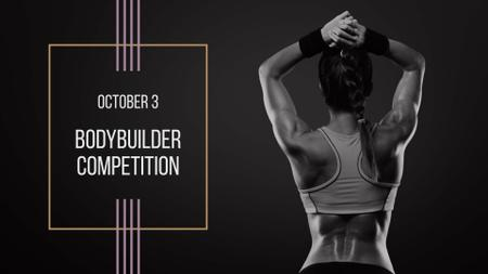 Bodybuilder Competition Announcement with Athlete Woman FB event cover Design Template