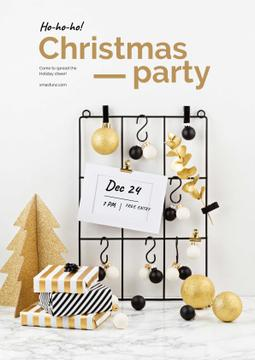Christmas Party announcement in golden