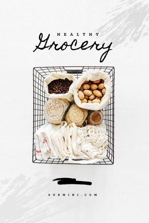 Plantilla de diseño de Healthy Grocery in Shopping Basket Pinterest