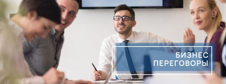 Business talks with Business people working together Facebook cover – шаблон для дизайна