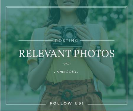 Photo blog ad Woman with Vintage Camera Facebook – шаблон для дизайна