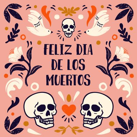 Dia de los Muertos Holiday with Floral Ornament and Skulls Animated Post – шаблон для дизайна