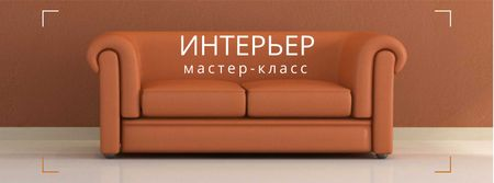 Interior decoration masterclass with Sofa in red Facebook cover – шаблон для дизайна