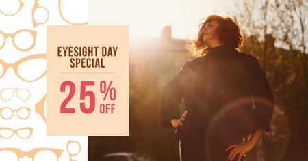 Template di design Eyesight Day Offer with Woman in Sunshine Facebook AD
