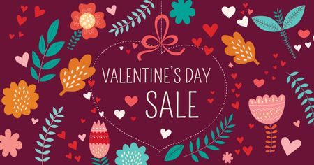 Template di design Valentine's Day Sale with Floral Pattern Facebook AD
