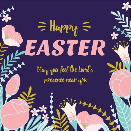 Easter Greeting with Flowers Animated Post Design Template