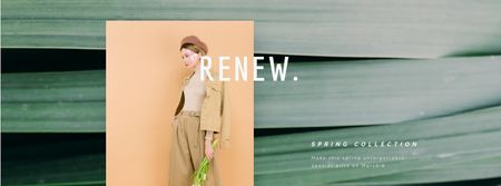 Stylish woman in beige outfit Facebook Video coverデザインテンプレート