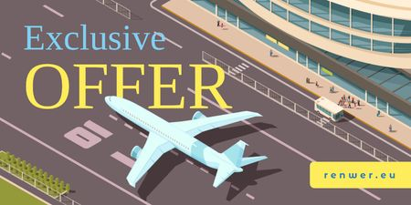 Airlines Ticket Offer with Plane at the Airport Runway Twitter Modelo de Design