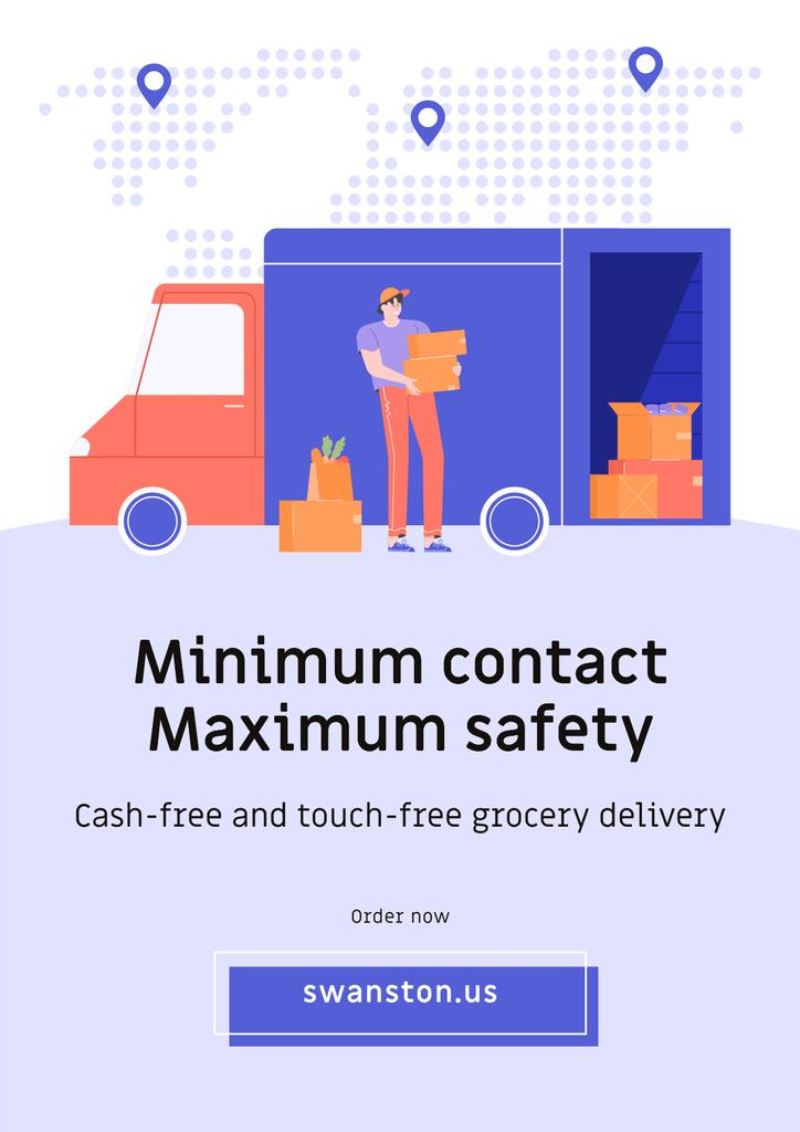 Touch-free Delivery Services offer with courier by car — Create a Design