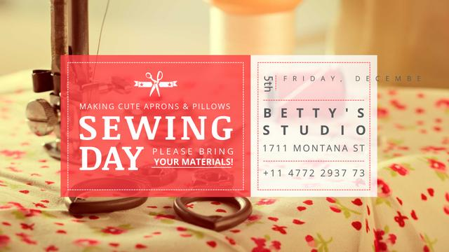 Sewing day event with needlework tools FB event cover Design Template
