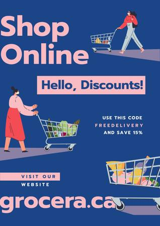 Online Shop Offer Women with groceries in baskets Posterデザインテンプレート