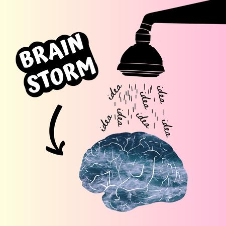 Funny Joke with Brain Illustration Instagram Modelo de Design