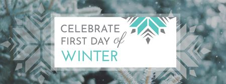 First Day of Winter Greeting with Snowflakes Facebook cover – шаблон для дизайну