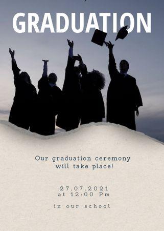 Designvorlage Graduation Announcement with Graduates throwing Hats für Invitation