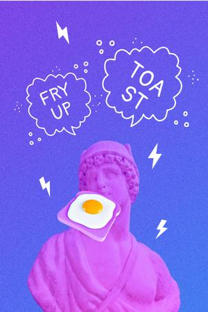 Funny Illustration of Antique Statue with Egg Sandwich Pinterestデザインテンプレート