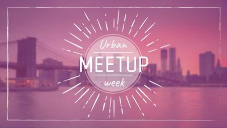 Urban Meetup Ad with Big City View FB event cover – шаблон для дизайна