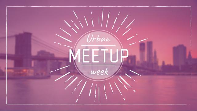 Urban Meetup Ad with Big City View FB event cover Modelo de Design