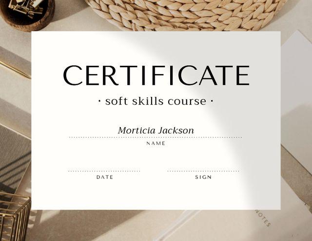 Soft Skills Course Achievement Confirmation Certificate – шаблон для дизайну
