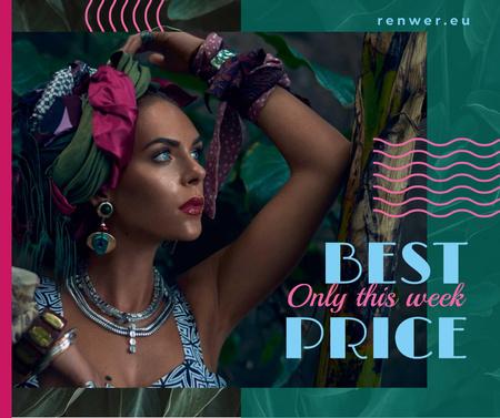 Fashion Ad with Attractive Woman Facebook Modelo de Design