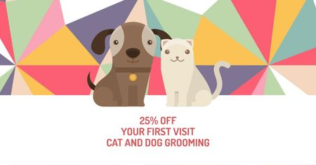 Plantilla de diseño de Pet Grooming Services Offer with Cute Dog and Cat Facebook AD