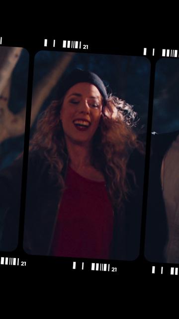 Happy Curly Woman dancing TikTok Video Design Template