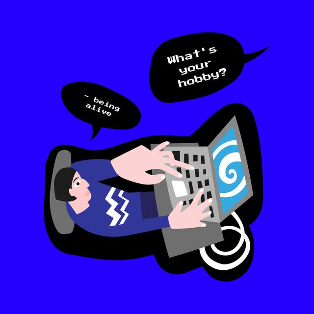 Designvorlage Funny Illustration of Man with Computer Addiction für Instagram