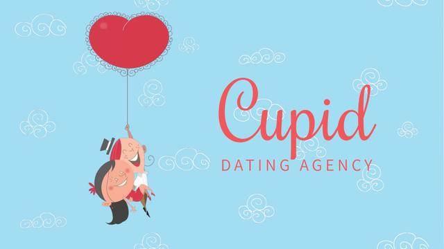 Designvorlage Valentine's Day Couple flying on Heart Balloon für Full HD video