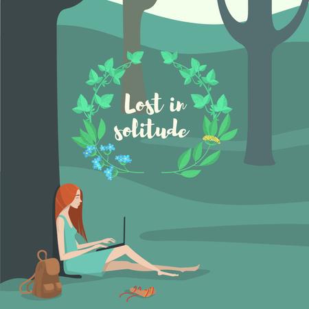 Designvorlage Girl with Laptop under Tree für Instagram