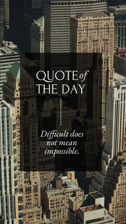 Designvorlage Business Quote on City Skyscrapers für Instagram Story