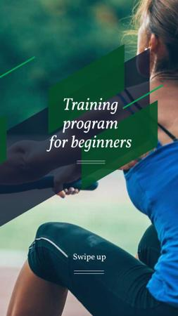 Training Program Ad with Woman doing Workout Instagram Story Modelo de Design