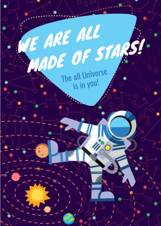 Inspiration Quote with Astronaut in space Invitation – шаблон для дизайну