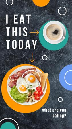 Template di design Breakfast with Fried Eggs and Coffee Instagram Story