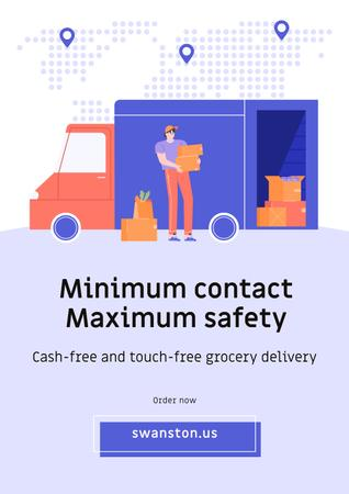 Template di design Touch-free Delivery Services offer with courier by car Poster
