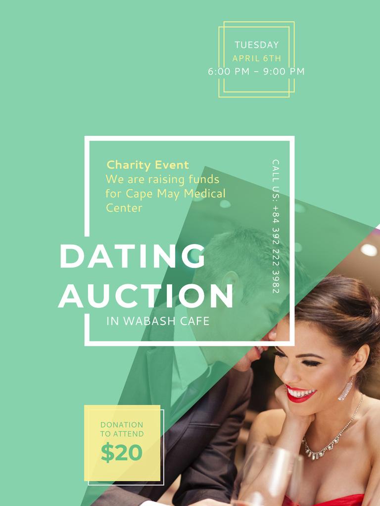 Smiling Woman at Dating Auction Poster US – шаблон для дизайну