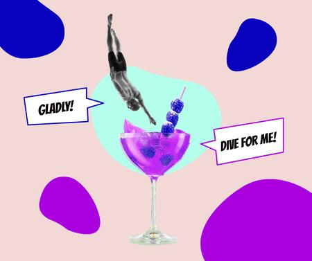 Platilla de diseño Funny Illustration of Sportsman jumping into Summer Cocktail Facebook
