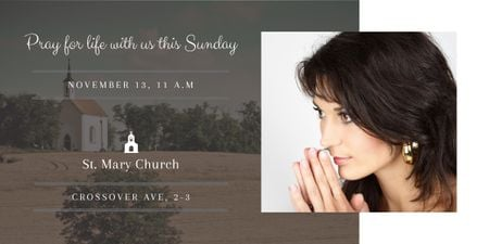 Church invitation with Woman Praying Image Modelo de Design