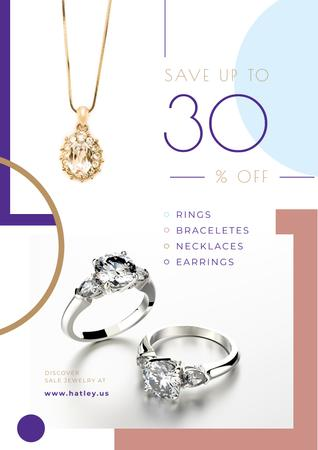 Jewelry Sale with Shiny Accessories with Precious Stones Poster Design Template