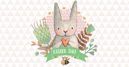 Designvorlage Easter Sale with Cute Bunny holding Heart für Facebook AD