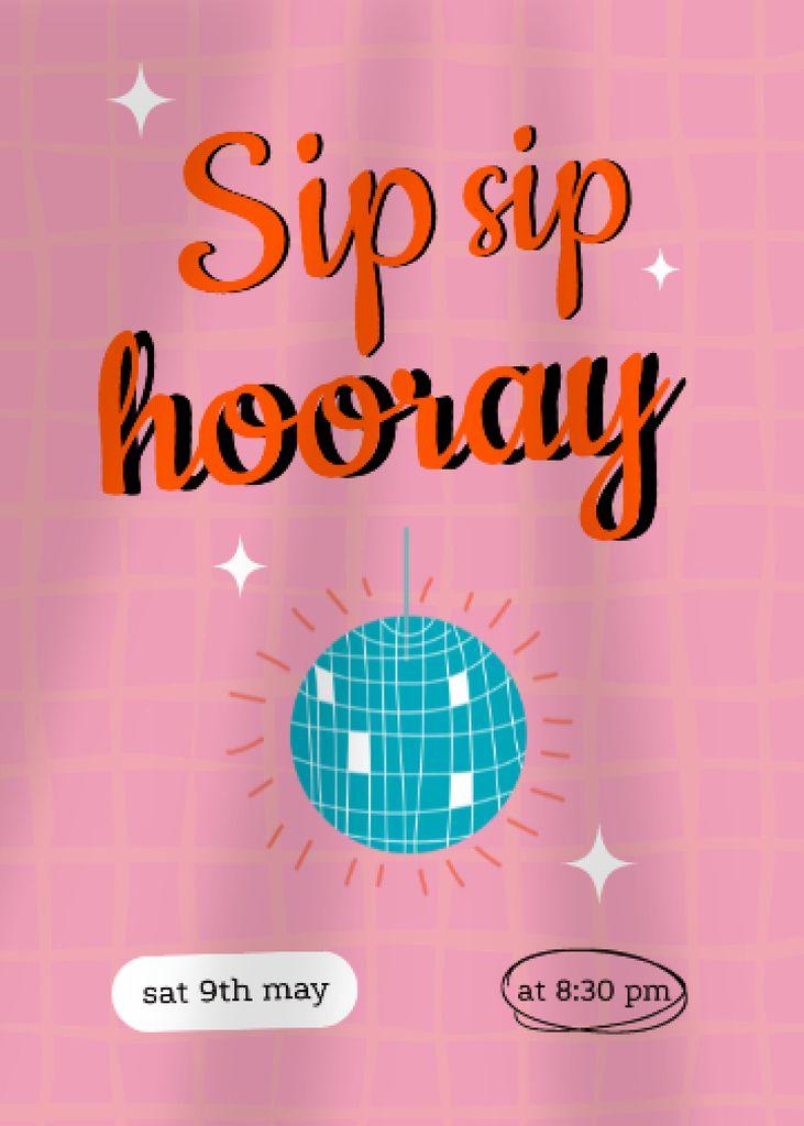 Party Bright Announcement with Disco Ball Invitation Design Template