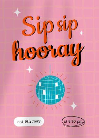 Party Bright Announcement with Disco Ball Invitation – шаблон для дизайну