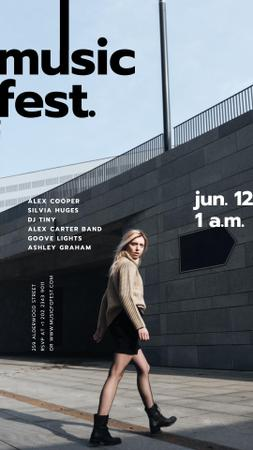 Music Fest announcement with Girl on street Instagram Story Design Template