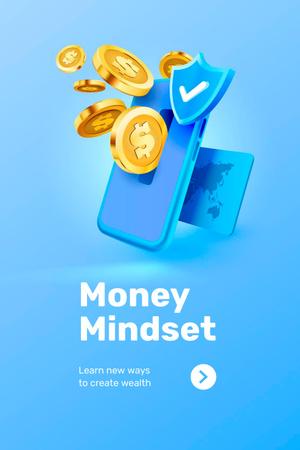Modèle de visuel Phone with coins for Money Mindset - Pinterest