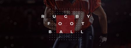 Ontwerpsjabloon van Facebook cover van Rugby Ad with American Football player