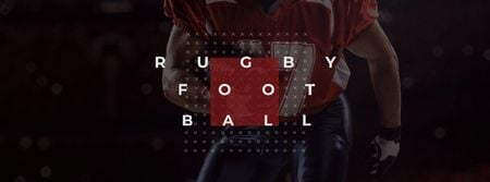Rugby Ad with American Football player Facebook cover Design Template