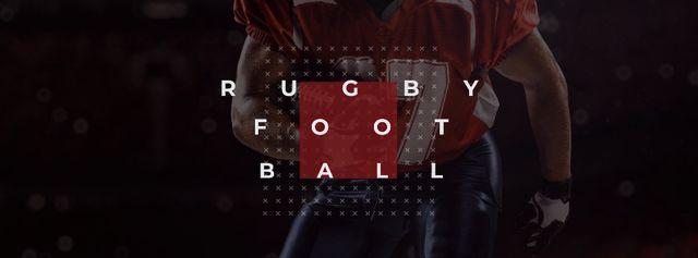 Ontwerpsjabloon van Facebook cover van Rugby Ad with American Football player