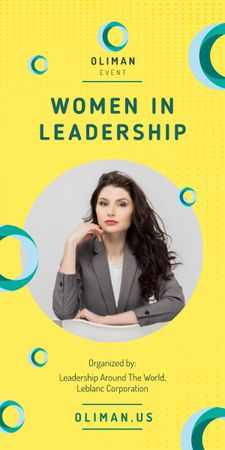 Leadership Conference Announcement Confident Businesswoman Graphic Modelo de Design