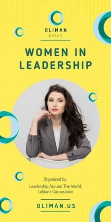 Leadership Conference Announcement Confident Businesswoman Graphic Tasarım Şablonu