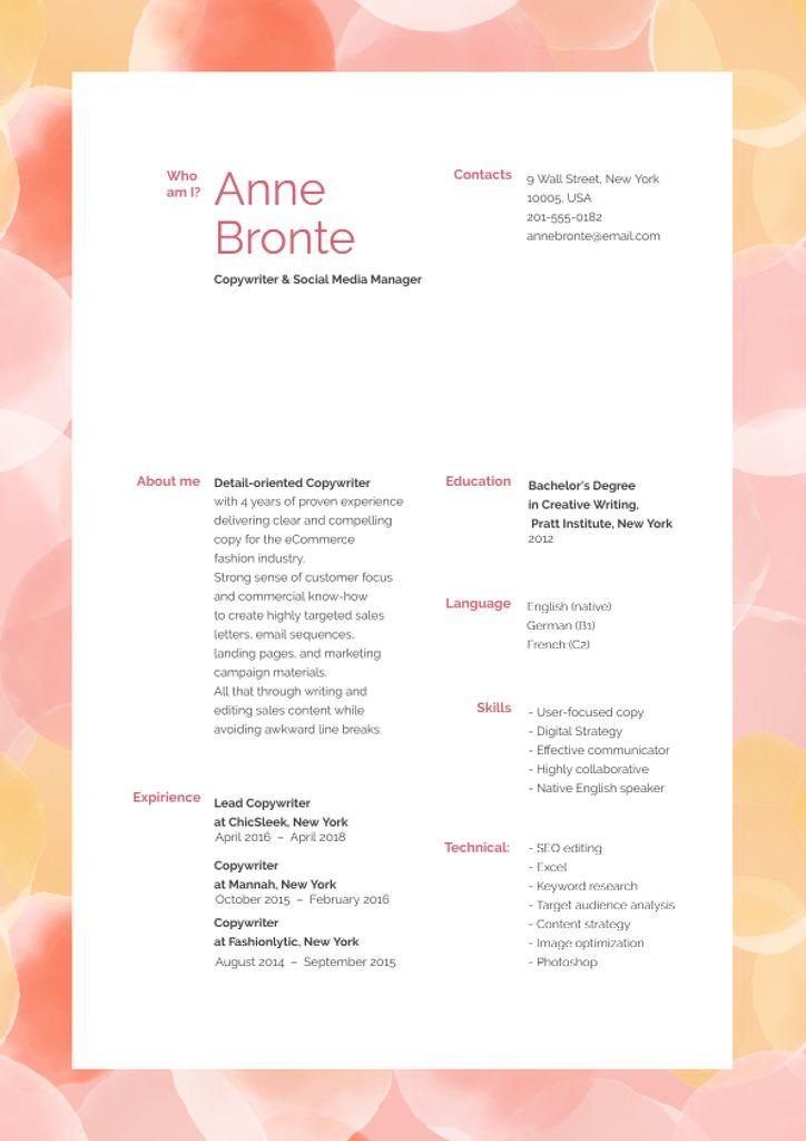 Copywriter skills and experience Resume – шаблон для дизайна