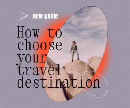 Travel inspiration with Man on Rock Medium Rectangle Design Template